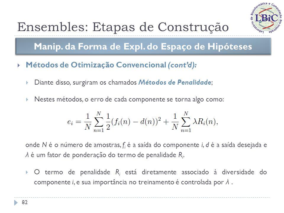 Ensembles: Etapas de Construção Métodos de Penalidade: Rosen (1996) usou o seguinte termo de penalidade em ensembles de redes neurais: Manip.