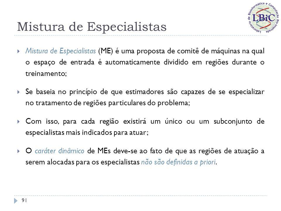 Mistura de Especialistas Responsável pelo aprendizado da ponderação apropriada dos especialistas para cada entrada 92 Figuras extraídas de Puma-Villanueva (2006)