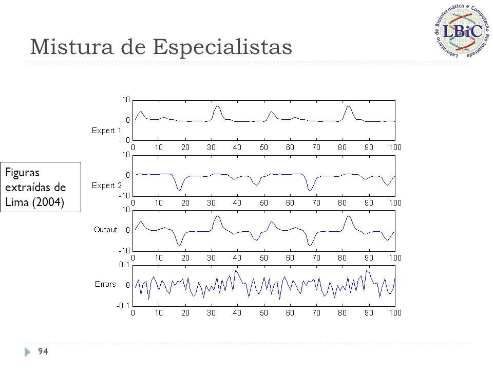 Mistura de Especialistas A interpretação probabilística da rede gating é de um sistema que calcula, para cada especialista, a probabilidade dele gerar a saída desejada com base apenas no conhecimento da entrada x; Estas probabilidades são expressas pelos coeficientes g i, que devem ser não-negativos e produzir soma unitária quando somados para cada x; Os coeficientes g i variam em função da entrada x: Caso permaneçam estáticos para todas as entradas, a mistura de especialistas se torna um ensemble.