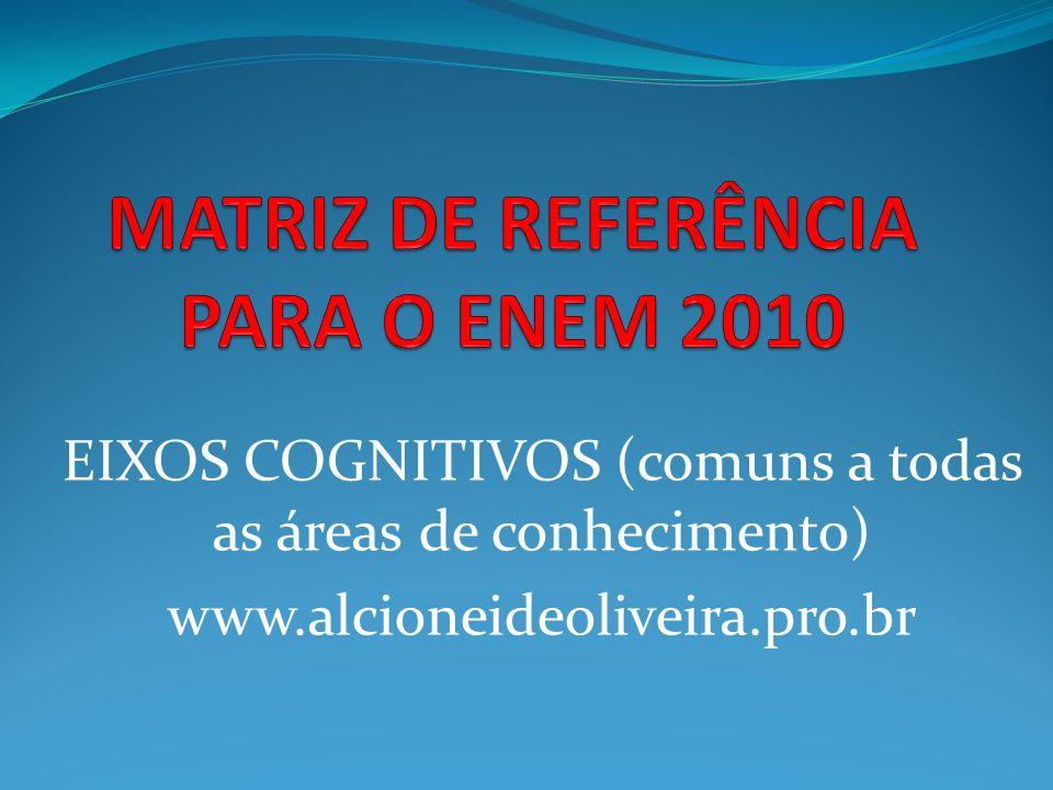 EIXOS COGNITIVOS (comuns a todas as áreas de conhecimento) www.alcioneideoliveira.pro.br