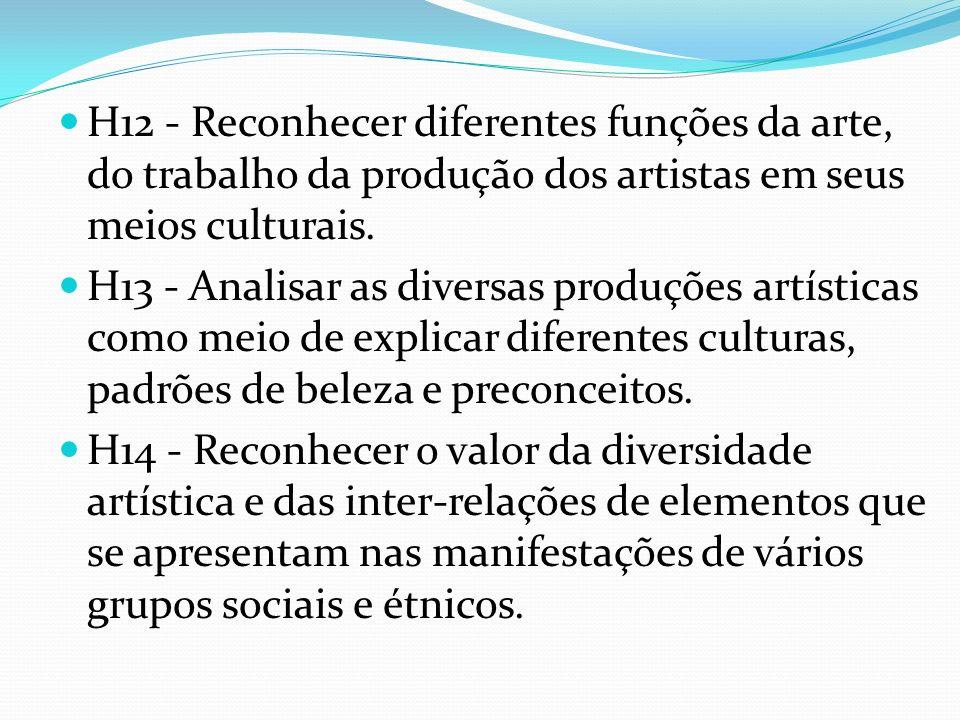 H12 - Reconhecer diferentes funções da arte, do trabalho da produção dos artistas em seus meios culturais. H13 - Analisar as diversas produções artíst