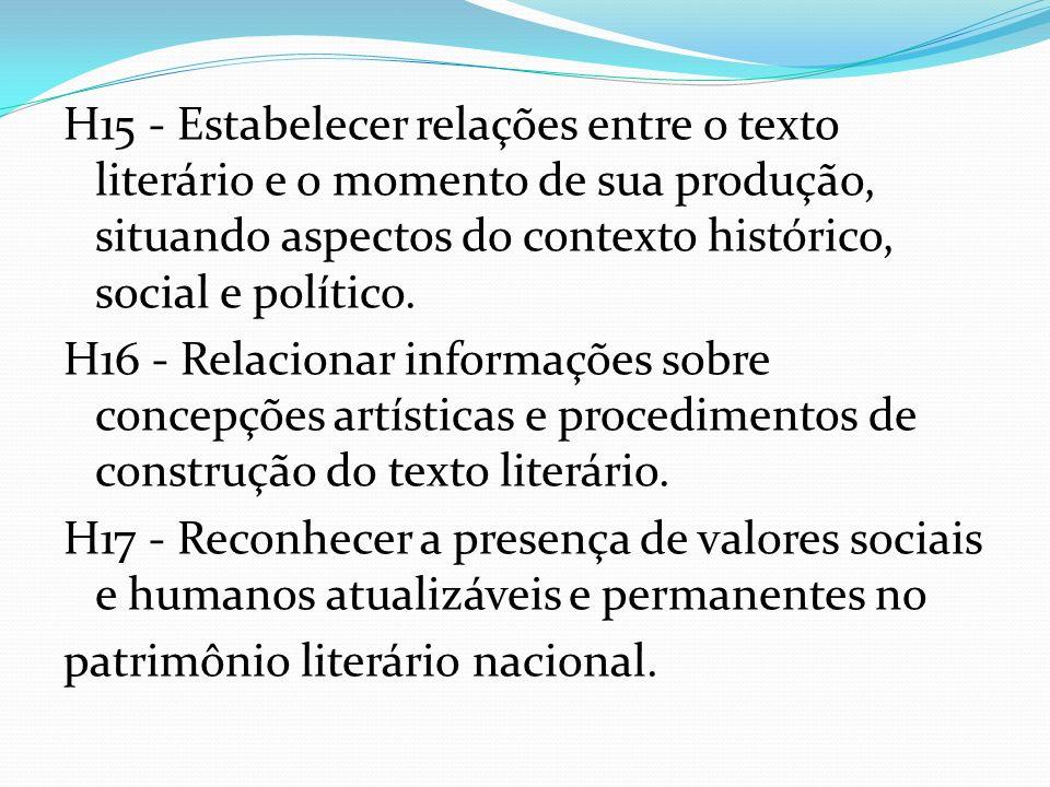 H15 - Estabelecer relações entre o texto literário e o momento de sua produção, situando aspectos do contexto histórico, social e político. H16 - Rela