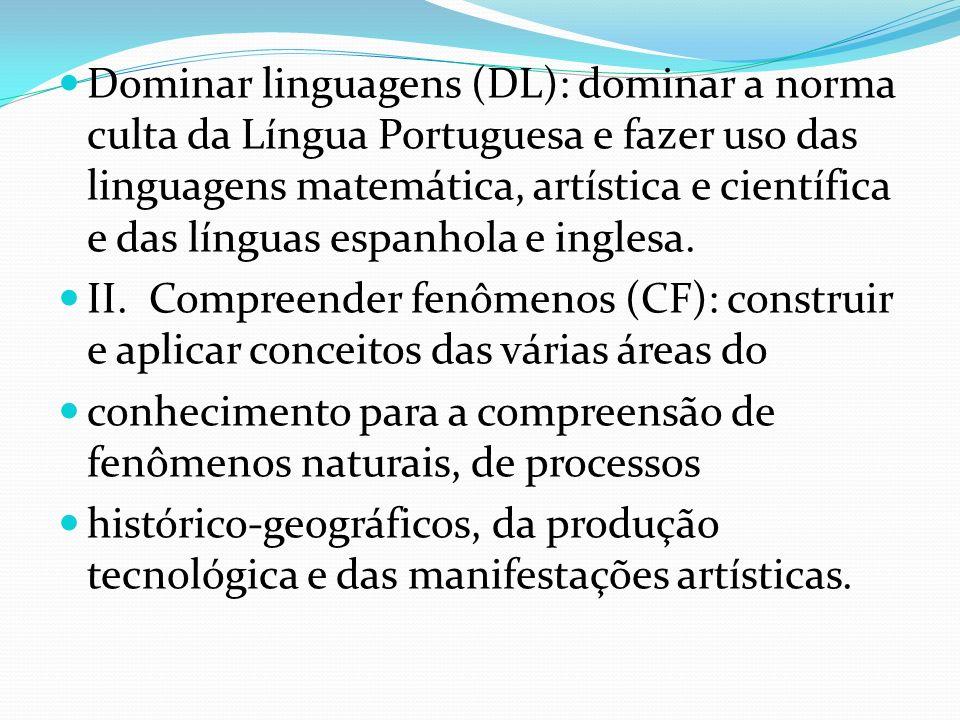 Dominar linguagens (DL): dominar a norma culta da Língua Portuguesa e fazer uso das linguagens matemática, artística e científica e das línguas espanh