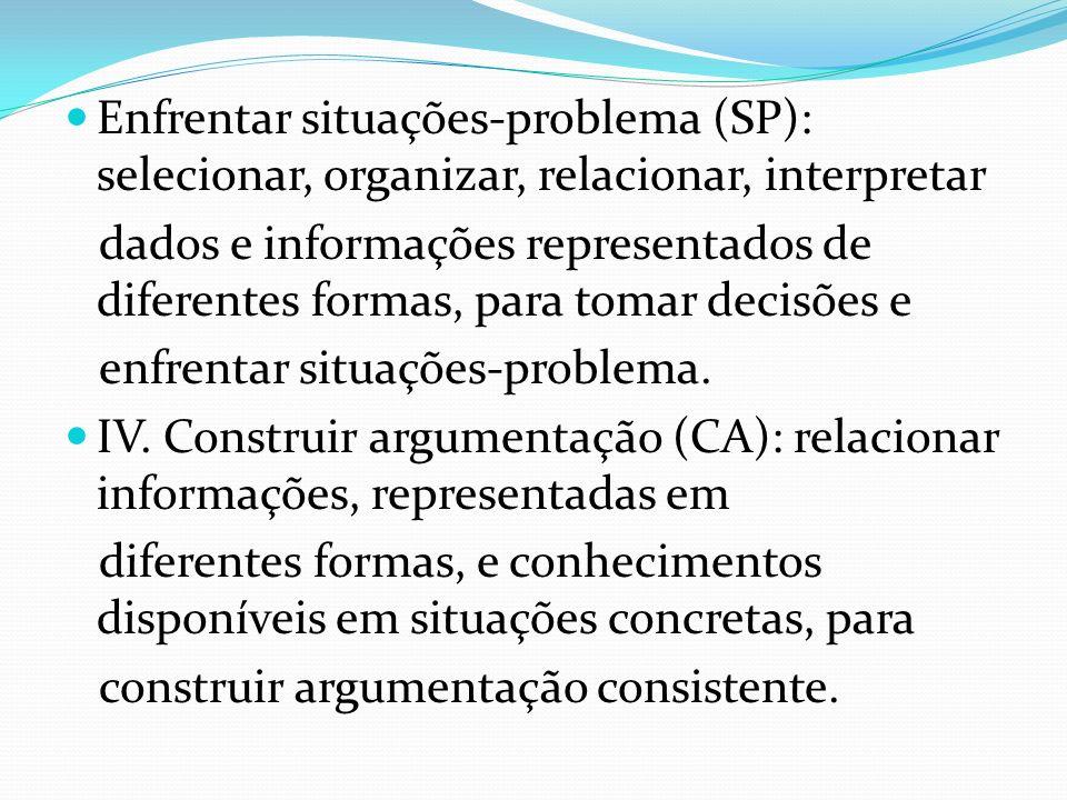 Enfrentar situações-problema (SP): selecionar, organizar, relacionar, interpretar dados e informações representados de diferentes formas, para tomar d