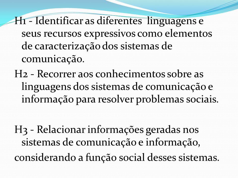 H1 - Identificar as diferentes linguagens e seus recursos expressivos como elementos de caracterização dos sistemas de comunicação. H2 - Recorrer aos