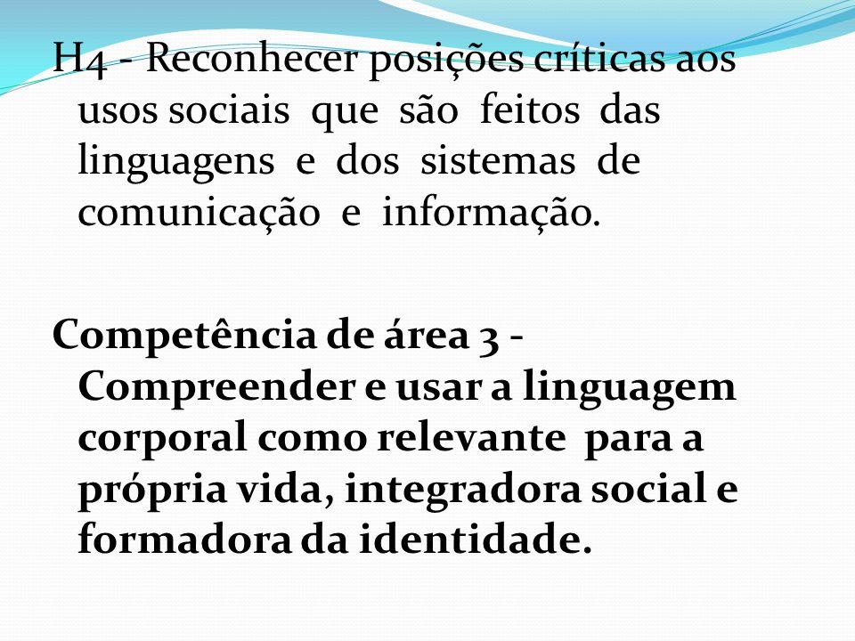 H4 - Reconhecer posições críticas aos usos sociais que são feitos das linguagens e dos sistemas de comunicação e informação. Competência de área 3 - C