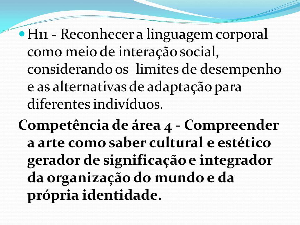 H11 - Reconhecer a linguagem corporal como meio de interação social, considerando os limites de desempenho e as alternativas de adaptação para diferen