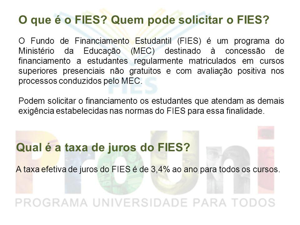 O que é o FIES? Quem pode solicitar o FIES? O Fundo de Financiamento Estudantil (FIES) é um programa do Ministério da Educação (MEC) destinado à conce