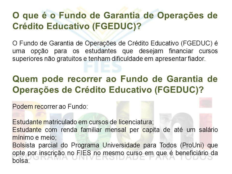 O que é o Fundo de Garantia de Operações de Crédito Educativo (FGEDUC)? O Fundo de Garantia de Operações de Crédito Educativo (FGEDUC) é uma opção par
