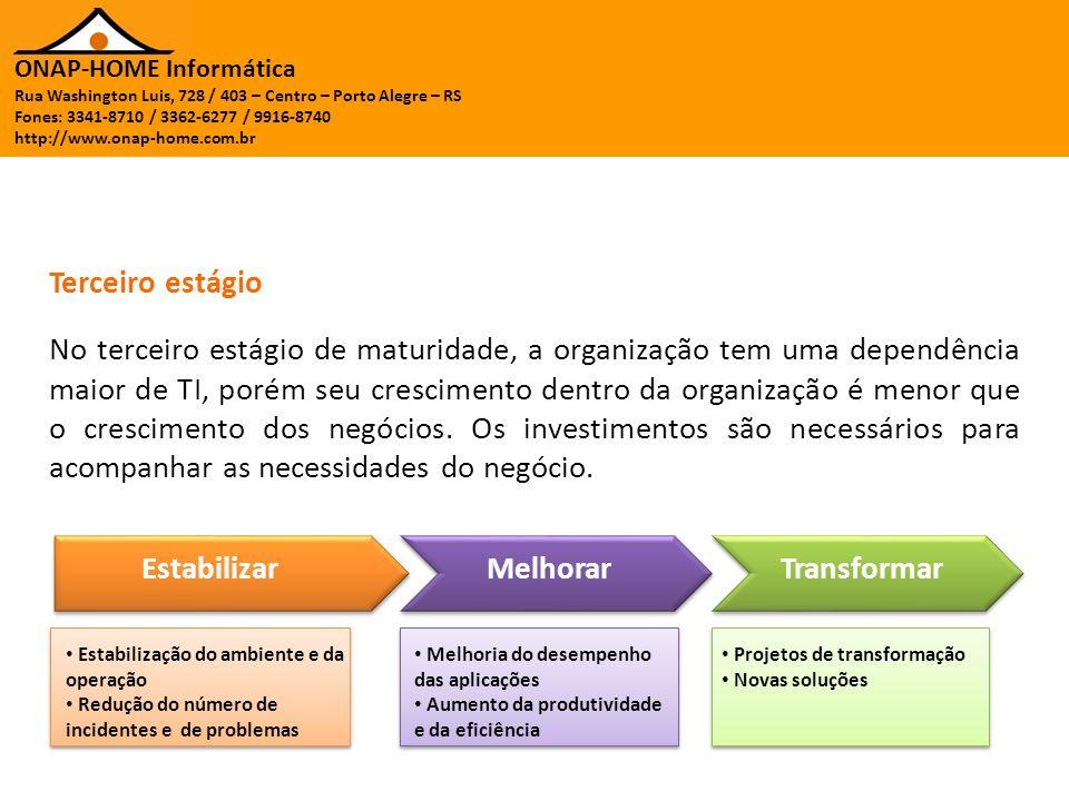 ONAP-HOME Informática Rua Washington Luis, 728 / 403 – Centro – Porto Alegre – RS Fones: 3341-8710 / 3362-6277 / 9916-8740 http://www.onap-home.com.br No quarto estágio de maturidade, a organização vê a TI como um parceiro que pode ajudar no desenvolvimento de novos negócios e melhorar os processos atuais.