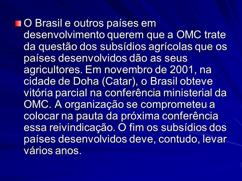 O Brasil e outros países em desenvolvimento querem que a OMC trate da questão dos subsídios agrícolas que os países desenvolvidos dão as seus agricultores.