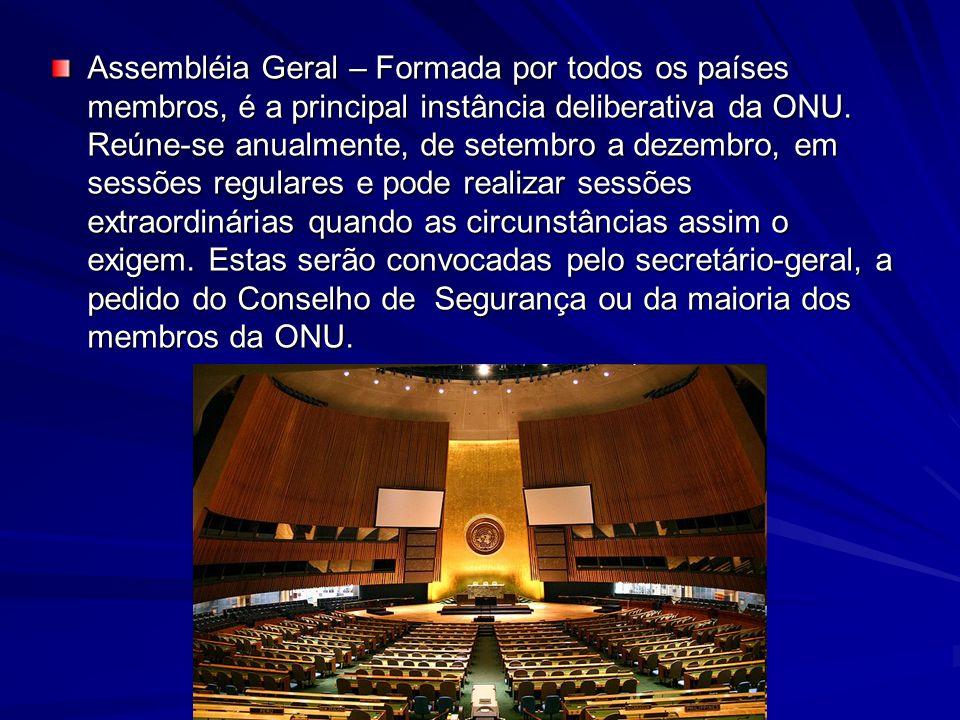 CONSELHO DE SEGURANÇA Recomenda medidas para manter ou restabelecer a paz e a segurança mundial.