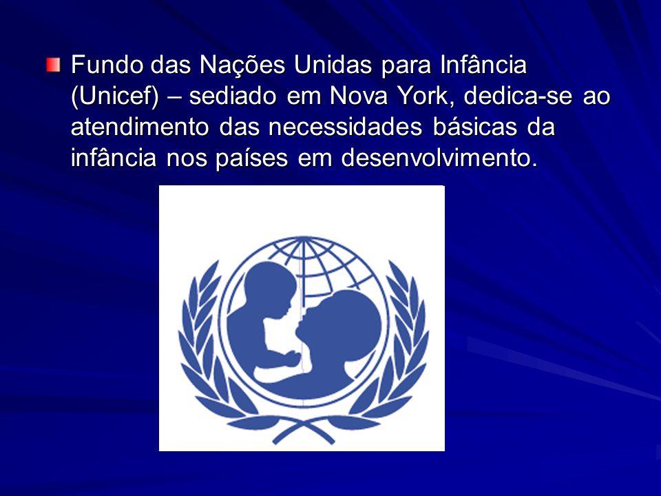 Fundo das Nações Unidas para Infância (Unicef) – sediado em Nova York, dedica-se ao atendimento das necessidades básicas da infância nos países em desenvolvimento.