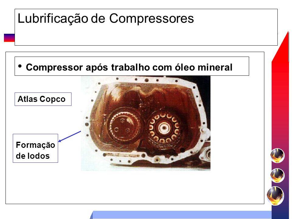 Lubrificação de Compressores Compressor após trabalho com óleo mineral Formação de lodos Atlas Copco