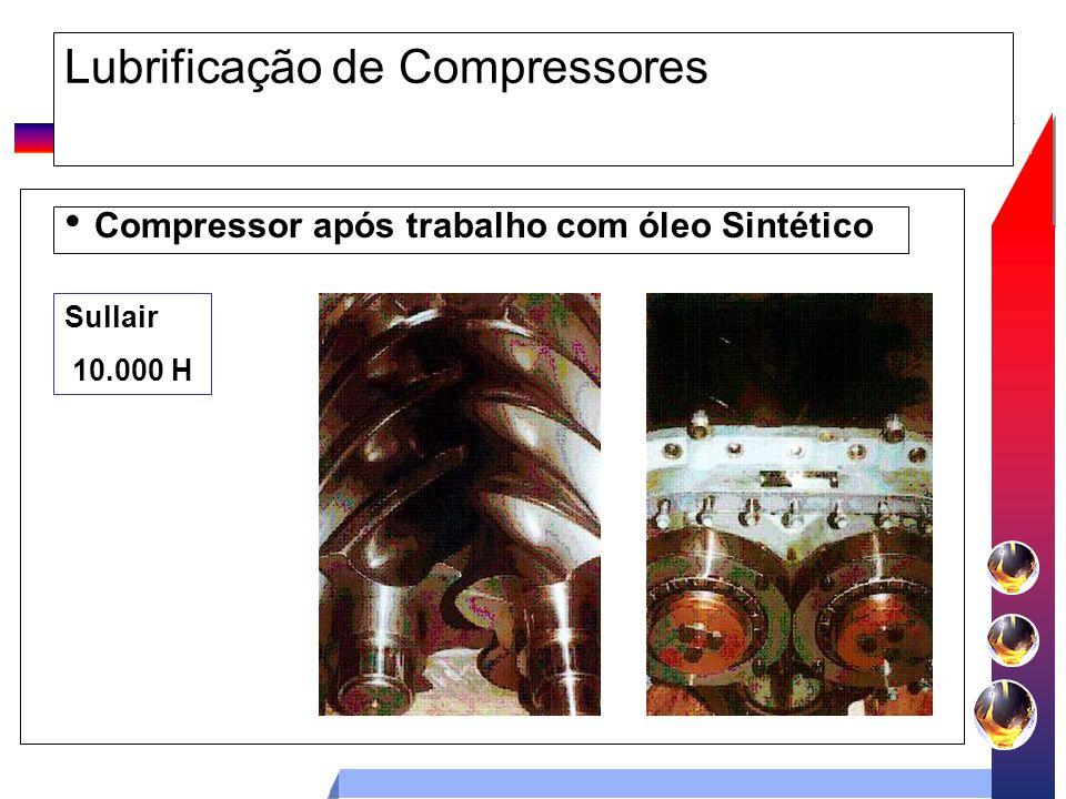Lubrificação de Compressores Compressor após trabalho com óleo Sintético Sullair 10.000 H