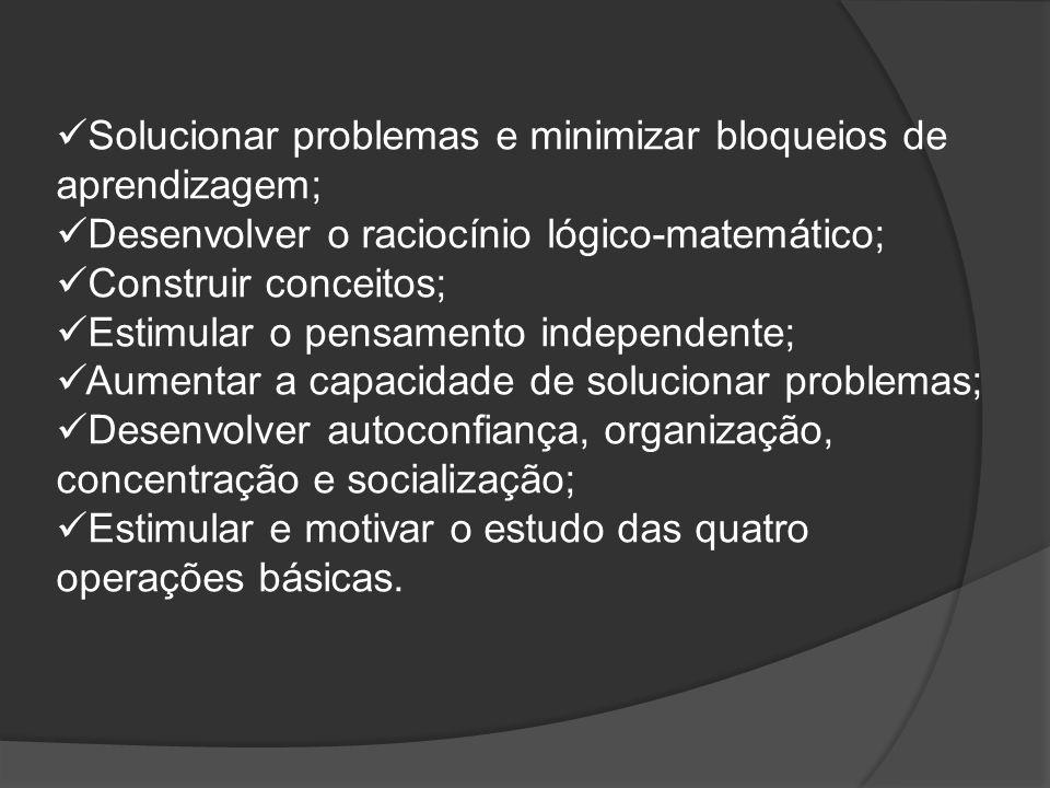 Solucionar problemas e minimizar bloqueios de aprendizagem; Desenvolver o raciocínio lógico-matemático; Construir conceitos; Estimular o pensamento in