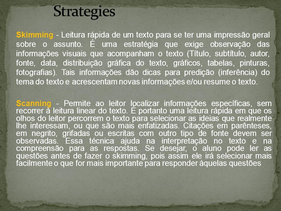 Scanning - Permite ao leitor localizar informações específicas, sem recorrer à leitura linear do texto. É portanto uma leitura rápida em que os olhos