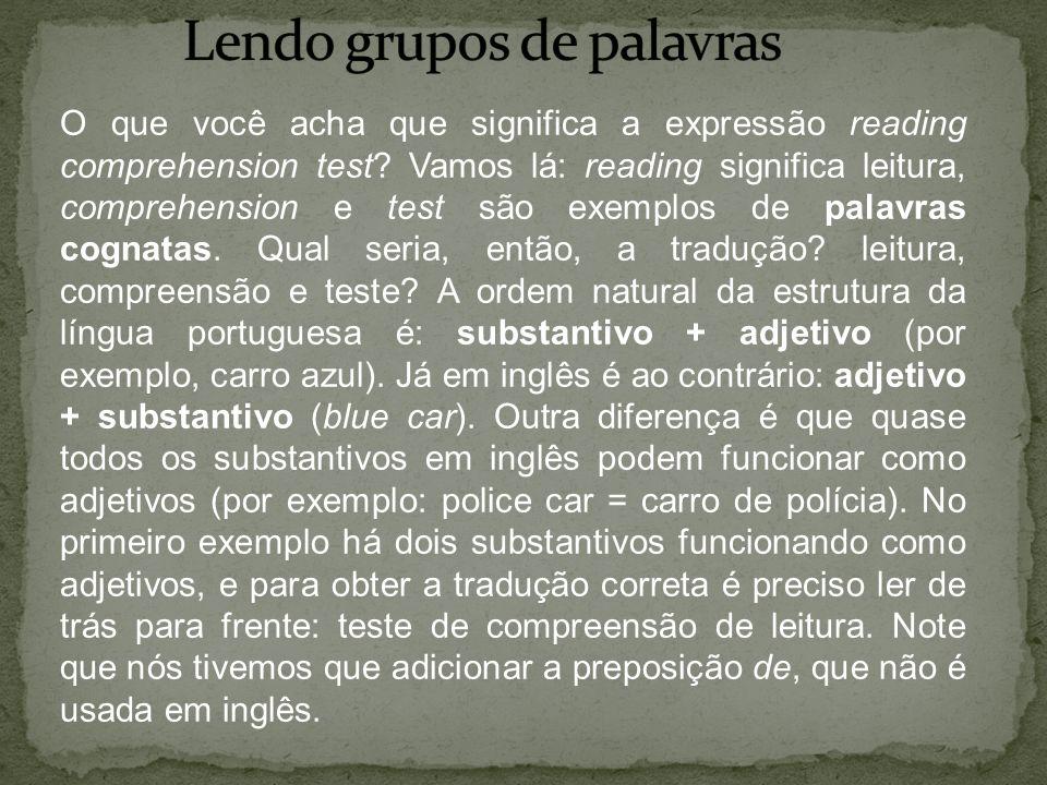 O que você acha que significa a expressão reading comprehension test? Vamos lá: reading significa leitura, comprehension e test são exemplos de palavr