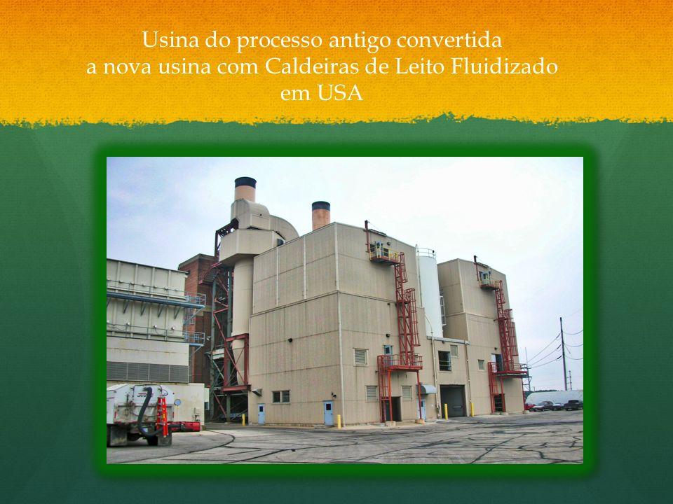 Usina do processo antigo convertida a nova usina com Caldeiras de Leito Fluidizado em USA