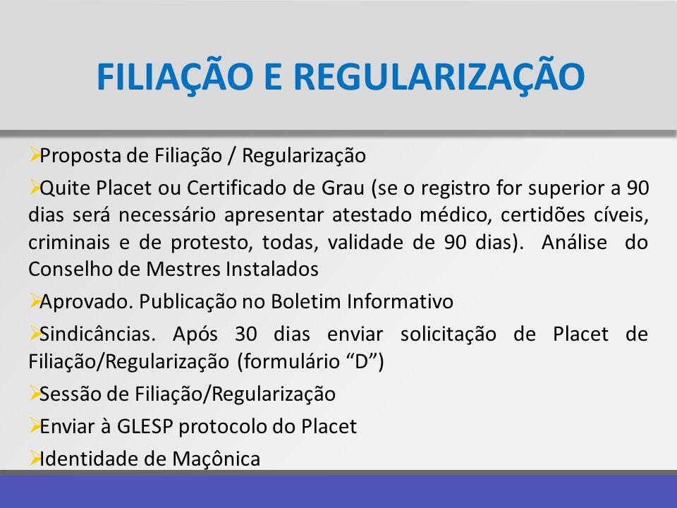 FILIAÇÃO E REGULARIZAÇÃO Proposta de Filiação / Regularização Quite Placet ou Certificado de Grau (se o registro for superior a 90 dias será necessári