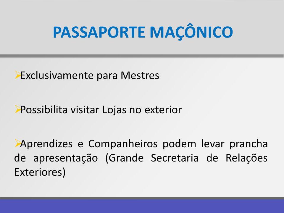PASSAPORTE MAÇÔNICO Exclusivamente para Mestres Possibilita visitar Lojas no exterior Aprendizes e Companheiros podem levar prancha de apresentação (G