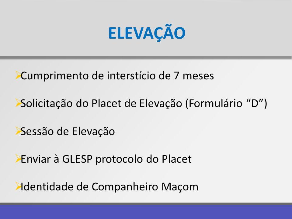 ELEVAÇÃO Cumprimento de interstício de 7 meses Solicitação do Placet de Elevação (Formulário D) Sessão de Elevação Enviar à GLESP protocolo do Placet