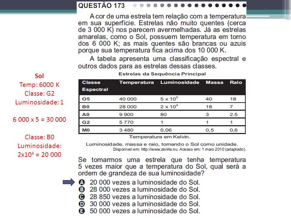 Sol Temp: 6000 K Classe: G2 Luminosidade: 1 6 000 x 5 = 30 000 Classe: B0 Luminosidade: 2x10 4 = 20 000