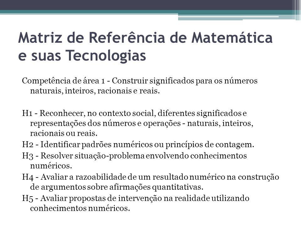 Matriz de Referência de Matemática e suas Tecnologias Competência de área 1 - Construir significados para os números naturais, inteiros, racionais e r