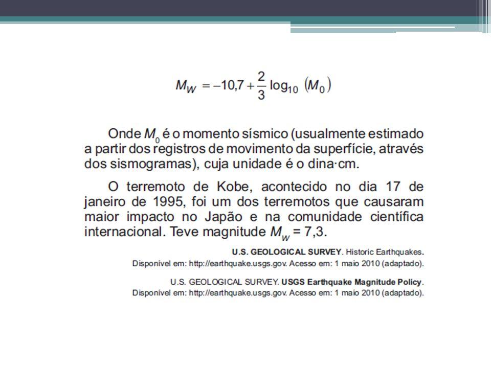 M w =7,3 M w = -10,7+2/3 log 10 M 0 7,3 = -10,7+2/3 log 10 M 0 7,3 +10,7 = 2/3 log 10 M 0 18 = 2/3 log 10 M 0 (18 x 3)/2= log 10 M 0 27 = log 10 M 0 M 0 = 10 27