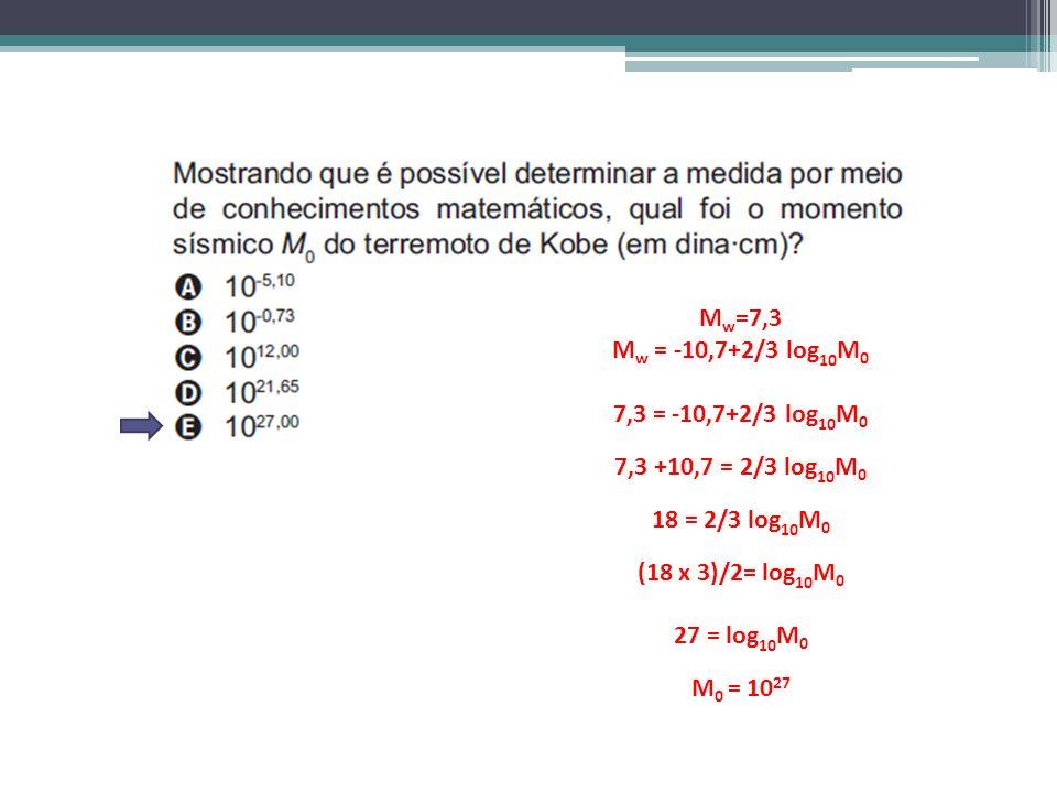 M w =7,3 M w = -10,7+2/3 log 10 M 0 7,3 = -10,7+2/3 log 10 M 0 7,3 +10,7 = 2/3 log 10 M 0 18 = 2/3 log 10 M 0 (18 x 3)/2= log 10 M 0 27 = log 10 M 0 M