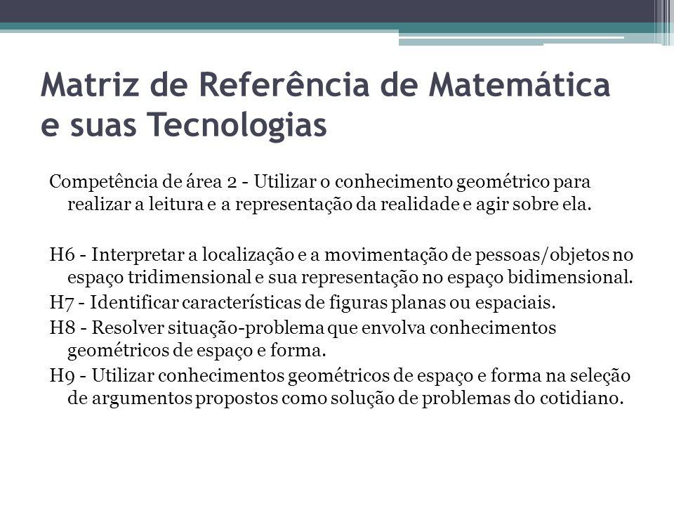 Matriz de Referência de Matemática e suas Tecnologias Competência de área 2 - Utilizar o conhecimento geométrico para realizar a leitura e a represent