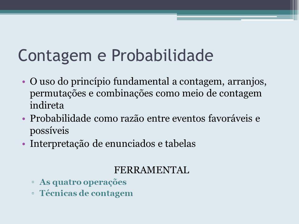 Contagem e Probabilidade O uso do princípio fundamental a contagem, arranjos, permutações e combinações como meio de contagem indireta Probabilidade c