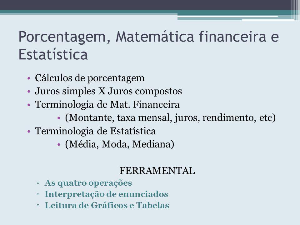 Porcentagem, Matemática financeira e Estatística Cálculos de porcentagem Juros simples X Juros compostos Terminologia de Mat. Financeira (Montante, ta