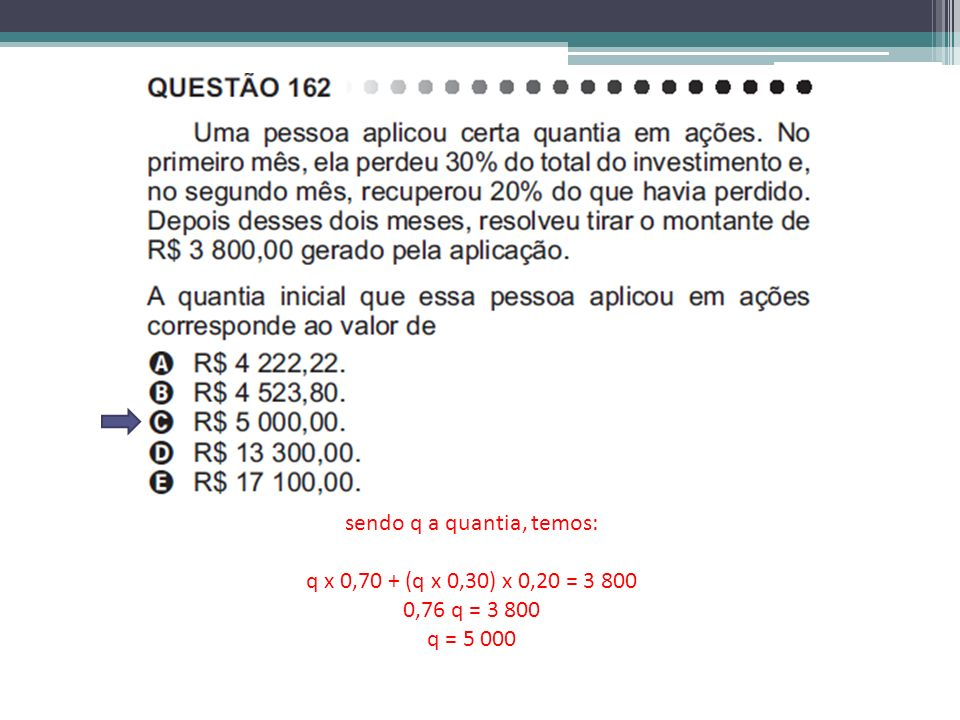 sendo q a quantia, temos: q x 0,70 + (q x 0,30) x 0,20 = 3 800 0,76 q = 3 800 q = 5 000