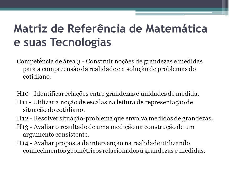Matriz de Referência de Matemática e suas Tecnologias Competência de área 3 - Construir noções de grandezas e medidas para a compreensão da realidade