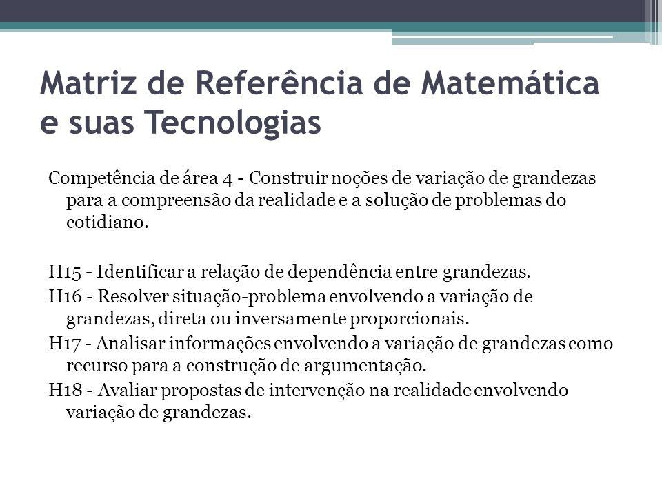 Matriz de Referência de Matemática e suas Tecnologias Competência de área 4 - Construir noções de variação de grandezas para a compreensão da realidad