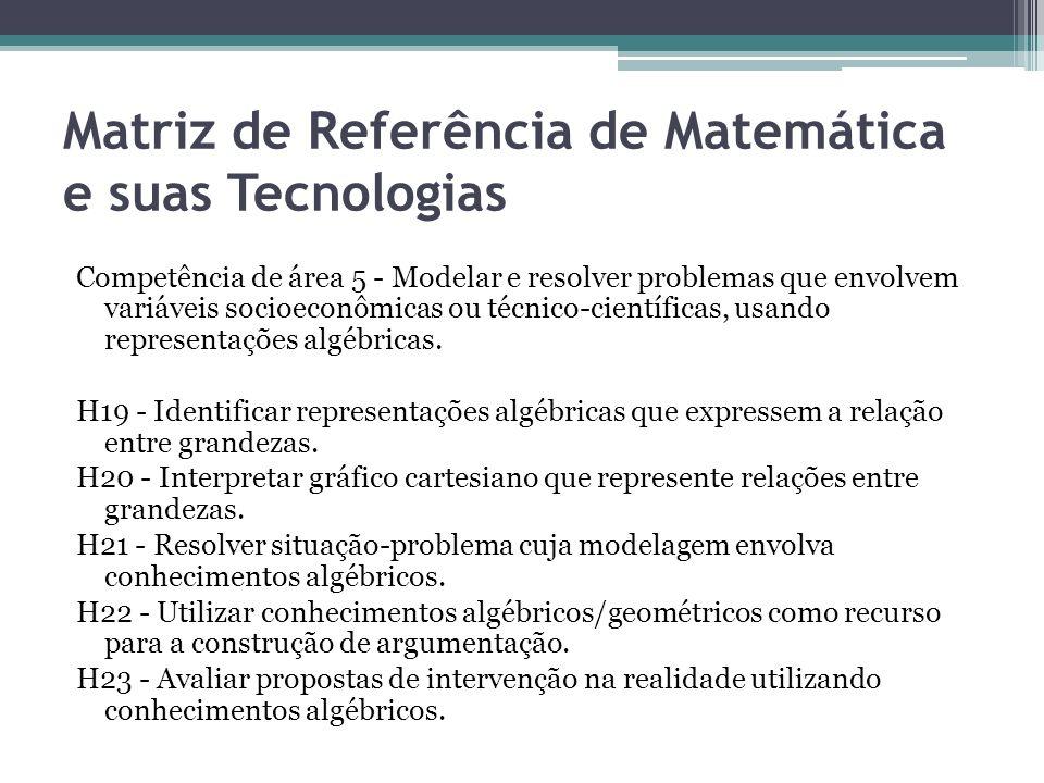 Matriz de Referência de Matemática e suas Tecnologias Competência de área 5 - Modelar e resolver problemas que envolvem variáveis socioeconômicas ou t