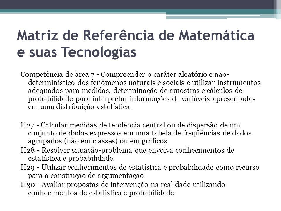 Matriz de Referência de Matemática e suas Tecnologias Competência de área 7 - Compreender o caráter aleatório e não- determinístico dos fenômenos natu