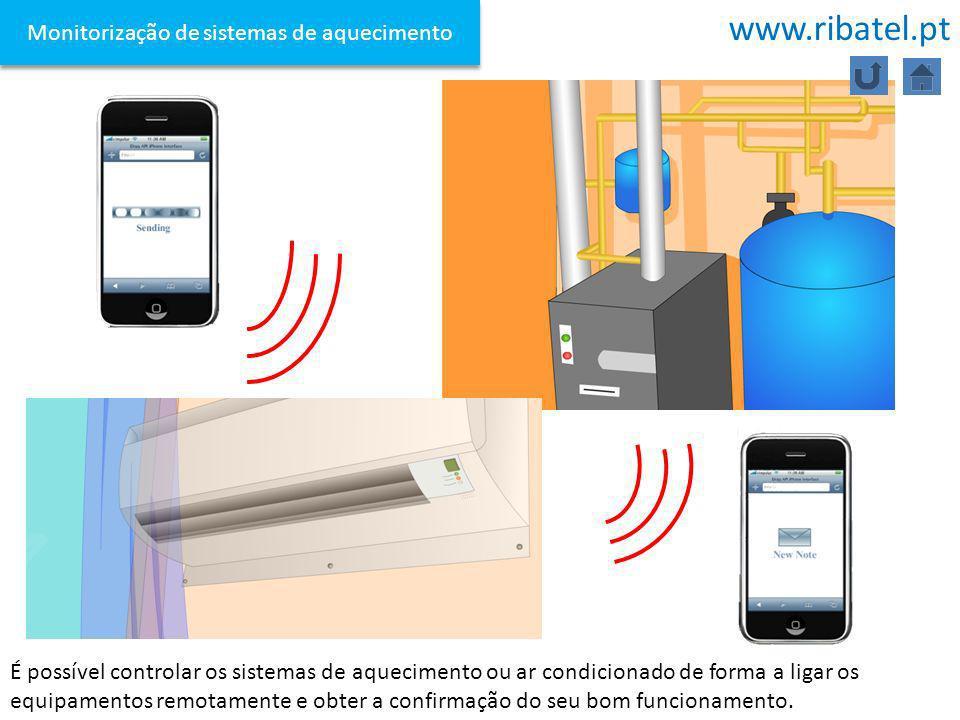 Monitorização de sistemas de aquecimento É possível controlar os sistemas de aquecimento ou ar condicionado de forma a ligar os equipamentos remotamen