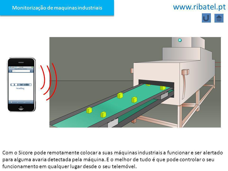 Monitorização de maquinas industriais Com o Sicore pode remotamente colocar a suas máquinas industriais a funcionar e ser alertado para alguma avaria
