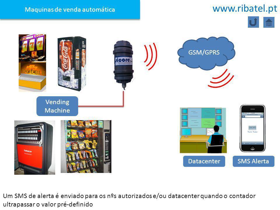 Um SMS de alerta é enviado para os nºs autorizados e/ou datacenter quando o contador ultrapassar o valor pré-definido Maquinas de venda automática GSM