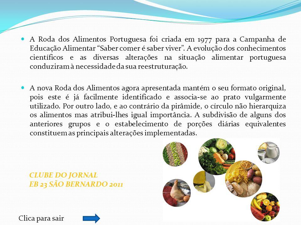A Roda dos Alimentos Portuguesa foi criada em 1977 para a Campanha de Educação Alimentar Saber comer é saber viver. A evolução dos conhecimentos cient