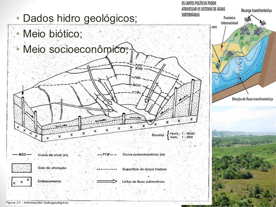 Dados hidro geológicos; Meio biótico; Meio socioeconômico;