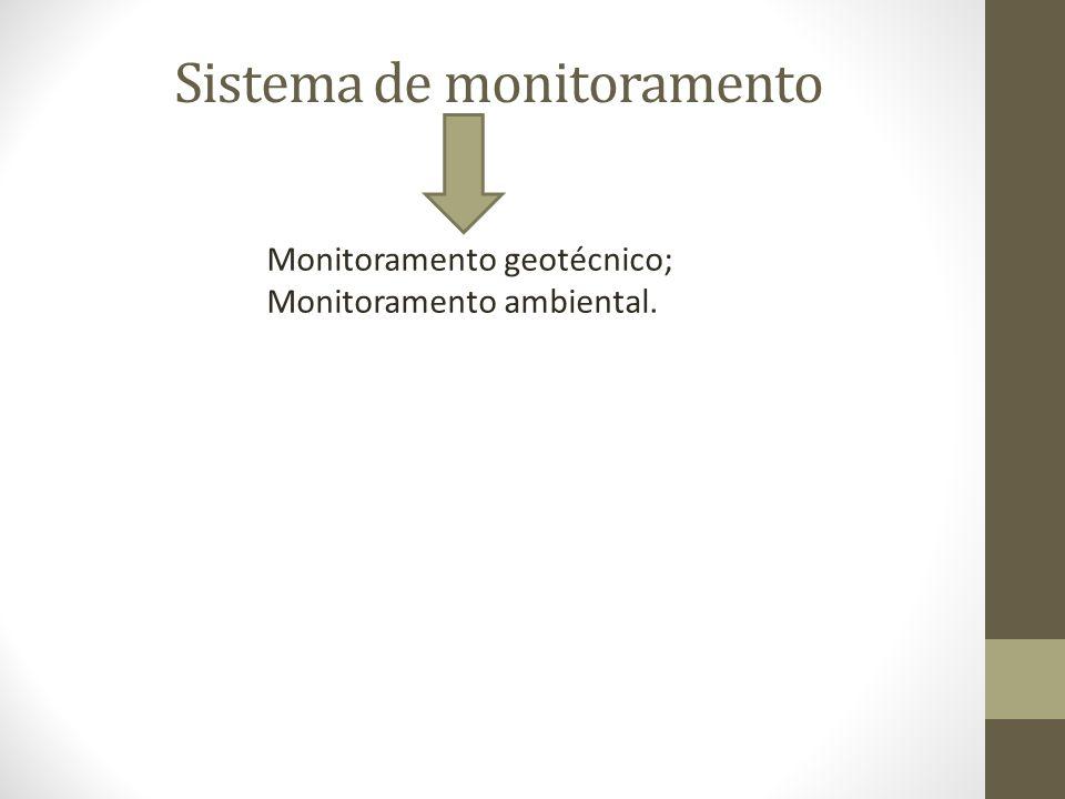 Sistema de monitoramento Monitoramento geotécnico; Monitoramento ambiental.