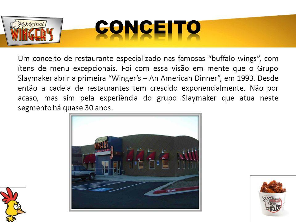 Um conceito de restaurante especializado nas famosas buffalo wings, com ítens de menu excepcionais. Foi com essa visão em mente que o Grupo Slaymaker