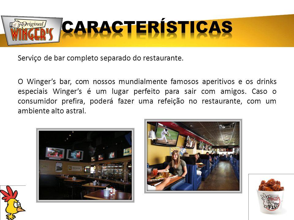 Serviço de bar completo separado do restaurante. O Wingers bar, com nossos mundialmente famosos aperitivos e os drinks especiais Wingers é um lugar pe