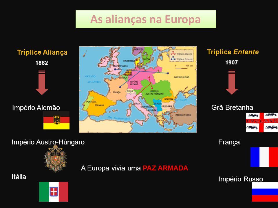 As alianças na Europa Tríplice Aliança Tríplice Entente 1882 1907 Império Alemão Império Austro-Húngaro Itália Grã-Bretanha França Império Russo A Europa vivia uma PAZ ARMADA