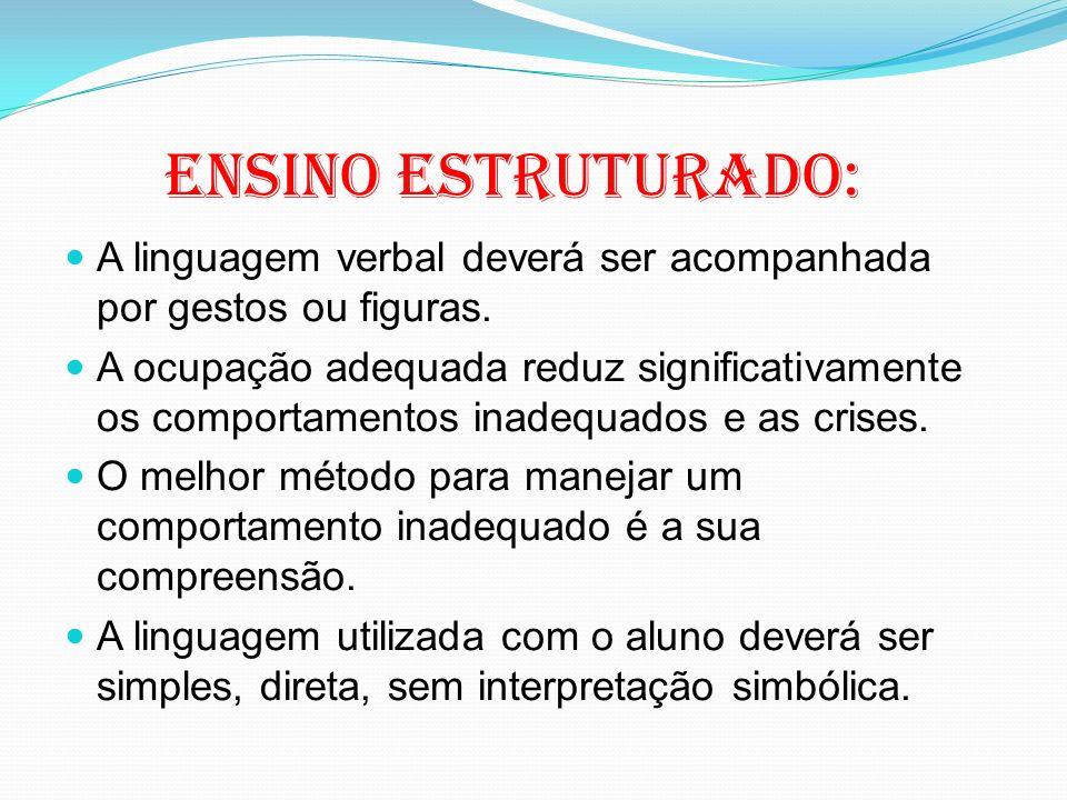 Ensino estruturado: A linguagem verbal deverá ser acompanhada por gestos ou figuras. A ocupação adequada reduz significativamente os comportamentos in