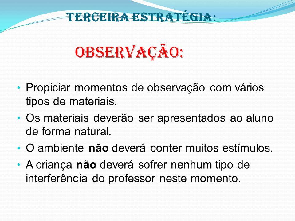 Terceira estratégia : Observação: Propiciar momentos de observação com vários tipos de materiais.