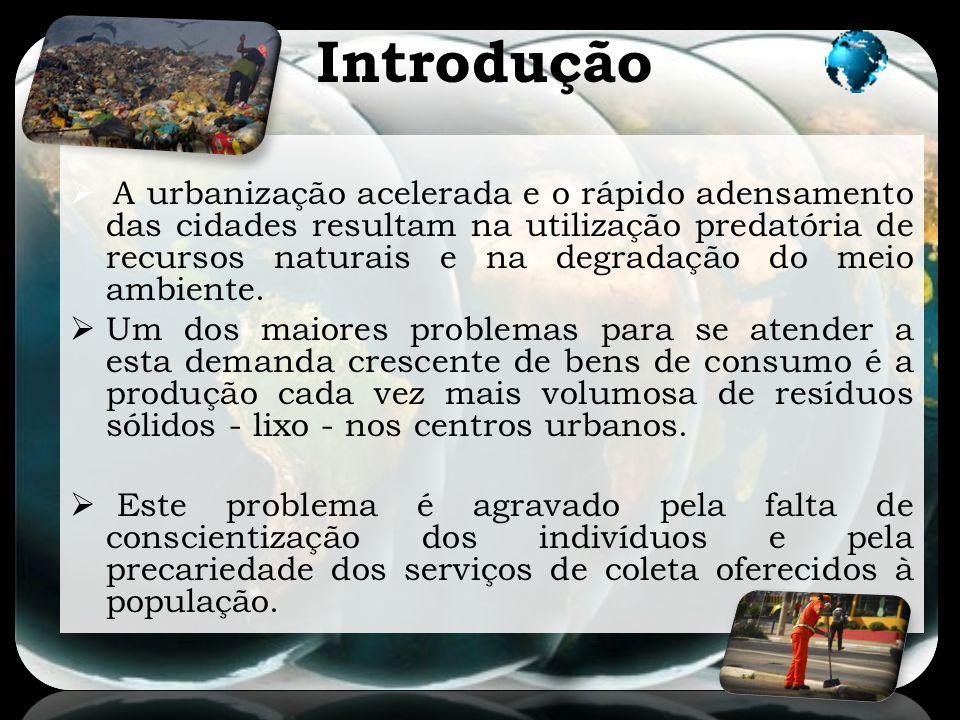 Introdução A urbanização acelerada e o rápido adensamento das cidades resultam na utilização predatória de recursos naturais e na degradação do meio a
